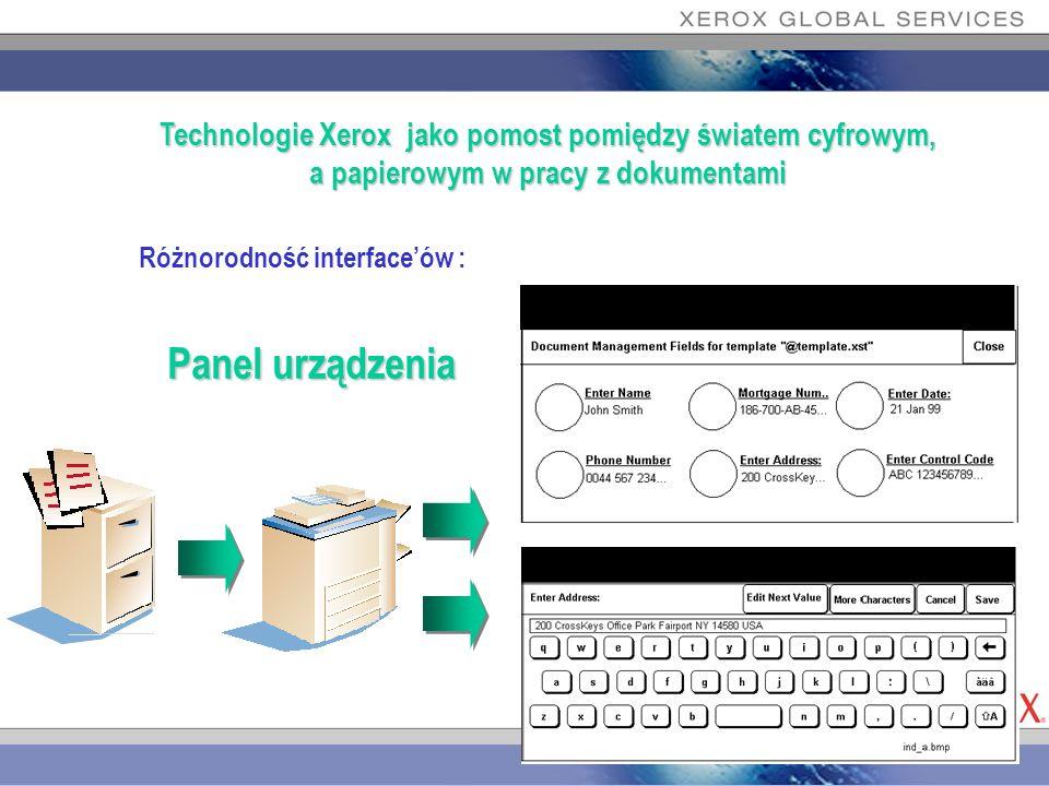 Różnorodność interfaceów : Technologie Xerox jako pomost pomiędzy światem cyfrowym, a papierowym w pracy z dokumentami Panel urządzenia