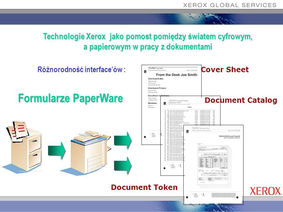 Różnorodność interfaceów : Technologie Xerox jako pomost pomiędzy światem cyfrowym, a papierowym w pracy z dokumentami Formularze PaperWare Cover Shee
