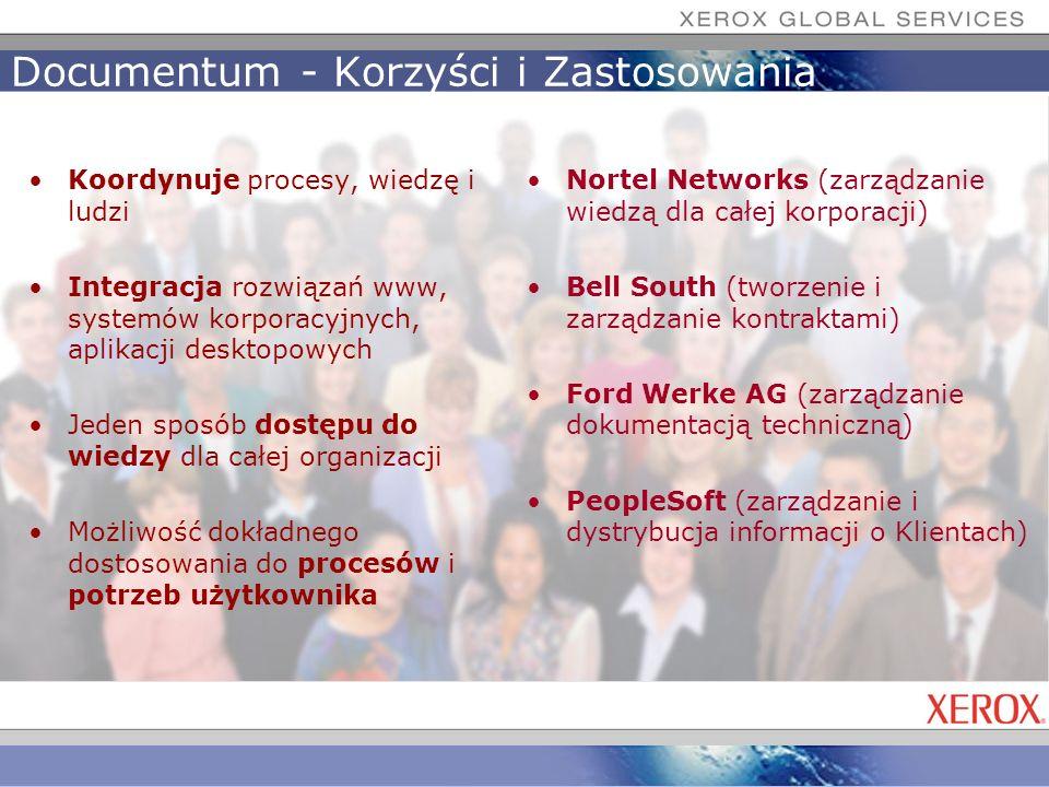 Documentum - Korzyści i Zastosowania Koordynuje procesy, wiedzę i ludzi Integracja rozwiązań www, systemów korporacyjnych, aplikacji desktopowych Jede