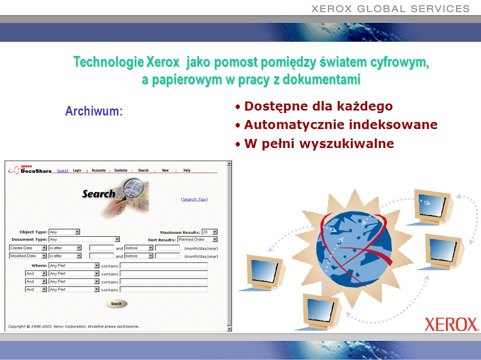 Dokumenty: Elektroniczna forma składowania Dowolny format informacji Komunikacja przez WWW Technologie Xerox jako pomost pomiędzy światem cyfrowym, a papierowym w pracy z dokumentami