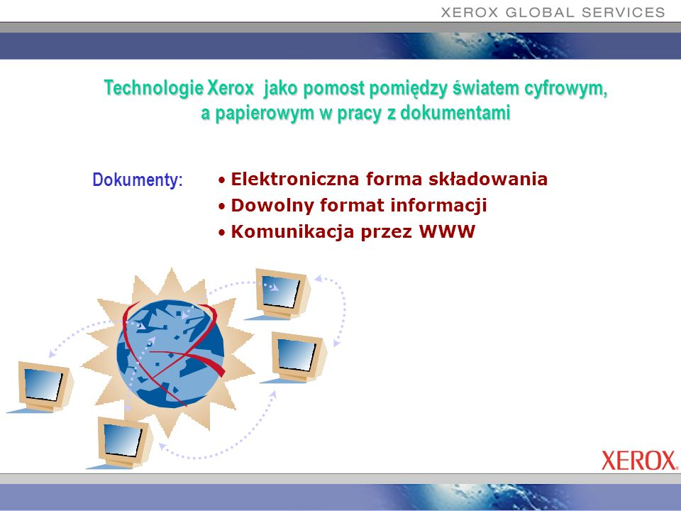 Dokumenty: Elektroniczna forma składowania Dowolny format informacji Komunikacja przez WWW Technologie Xerox jako pomost pomiędzy światem cyfrowym, a