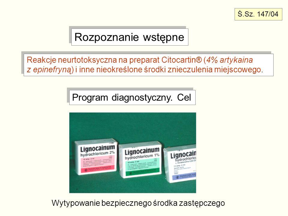 Rozpoznanie wstępne Reakcje neurtotoksyczna na preparat Citocartin® (4% artykaina z epinefryną) i inne nieokreślone środki znieczulenia miejscowego. R