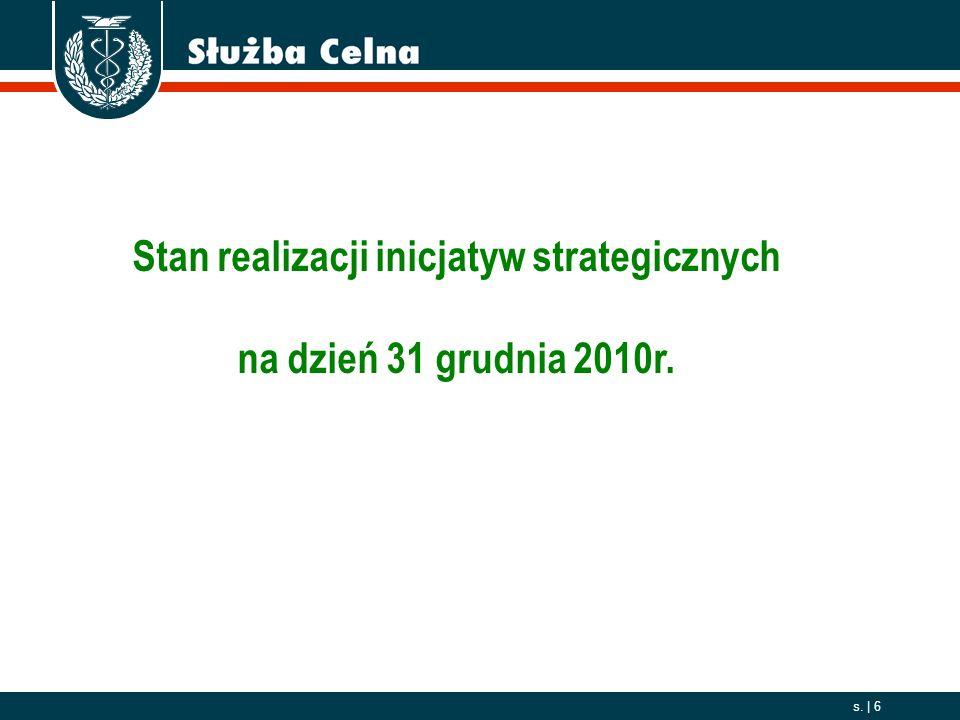 2006. 10. 01 s.   6 Stan realizacji inicjatyw strategicznych na dzień 31 grudnia 2010r.