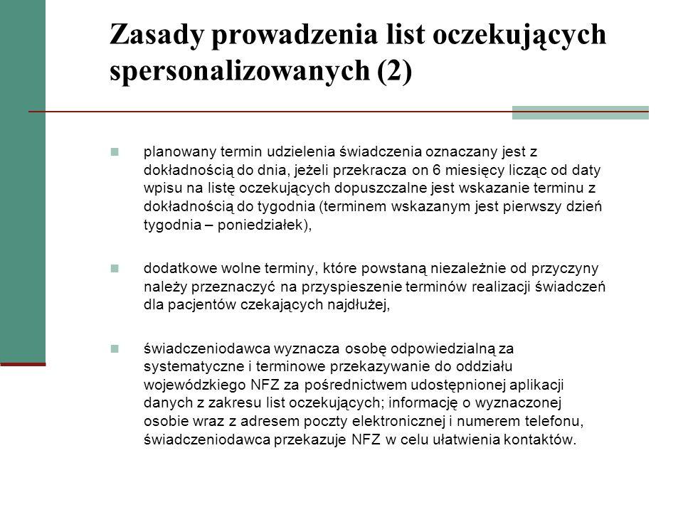 Zasady prowadzenia list oczekujących spersonalizowanych (2) planowany termin udzielenia świadczenia oznaczany jest z dokładnością do dnia, jeżeli prze