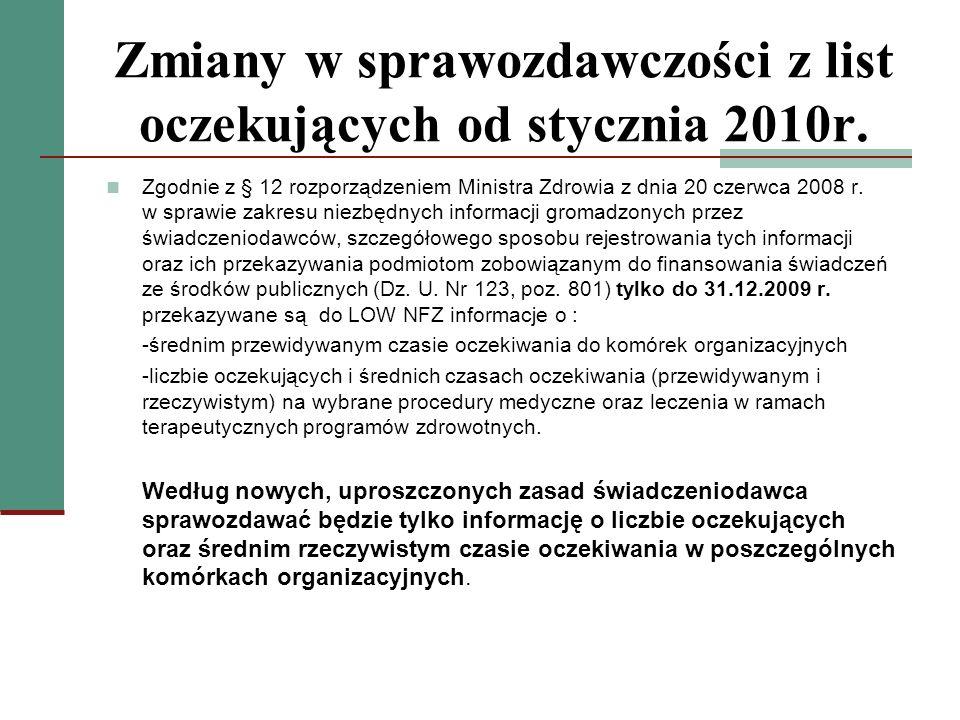 Zmiany w sprawozdawczości z list oczekujących od stycznia 2010r. Zgodnie z § 12 rozporządzeniem Ministra Zdrowia z dnia 20 czerwca 2008 r. w sprawie z