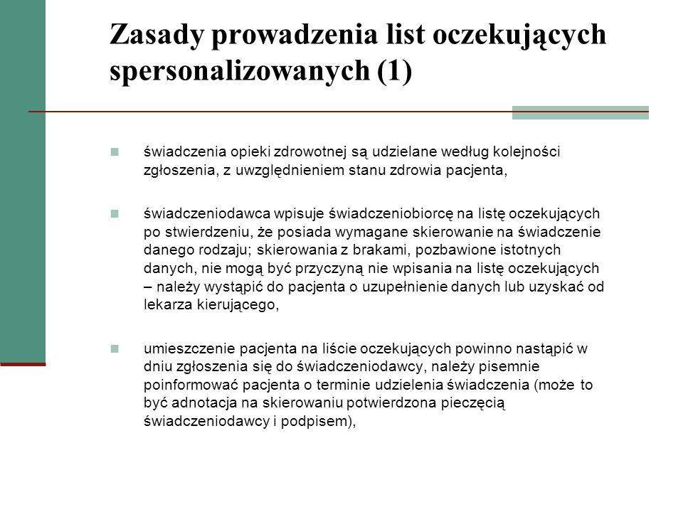 Zasady prowadzenia list oczekujących spersonalizowanych (1) świadczenia opieki zdrowotnej są udzielane według kolejności zgłoszenia, z uwzględnieniem