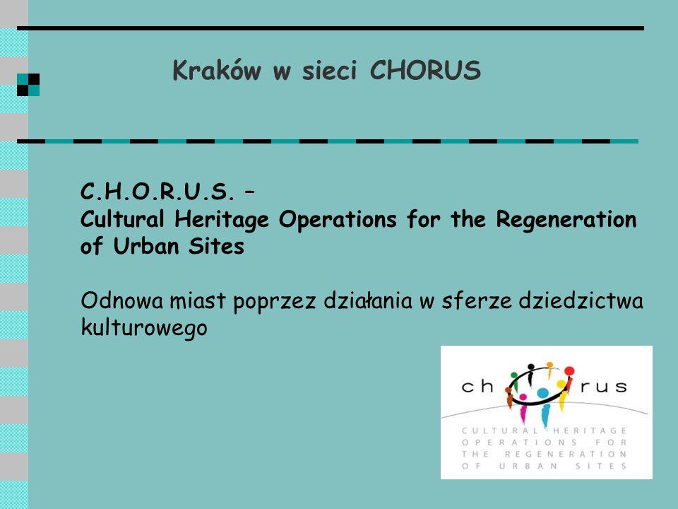 Kraków w sieci CHORUS Tematyka sieci: - rewitalizacja historycznych obszarów miejskich; - odnowa miast głównie pod kątem ratowania narodowego dorobku kulturowego; - waloryzacja dóbr kultury w celu ożywienia rozwoju miasta; - wymiana informacji i doświadczeń na tematy ekonomiczne, społeczne i kulturowe związane z zachowaniem dziedzictwa kulturowego; - omawianie kwestii wynikających z uczestnictwa w programie URBAN