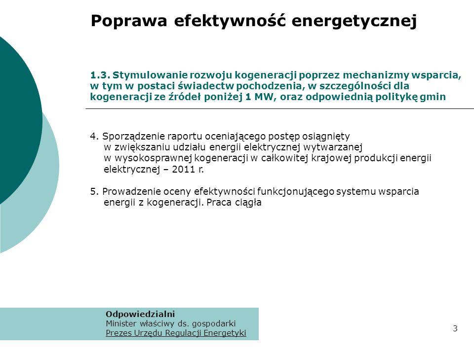 4. Sporządzenie raportu oceniającego postęp osiągnięty w zwiększaniu udziału energii elektrycznej wytwarzanej w wysokosprawnej kogeneracji w całkowite