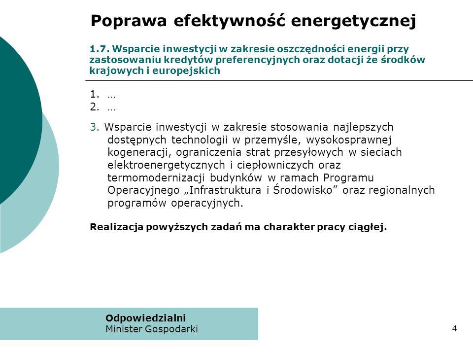 1.7. Wsparcie inwestycji w zakresie oszczędności energii przy zastosowaniu kredytów preferencyjnych oraz dotacji że środków krajowych i europejskich 1