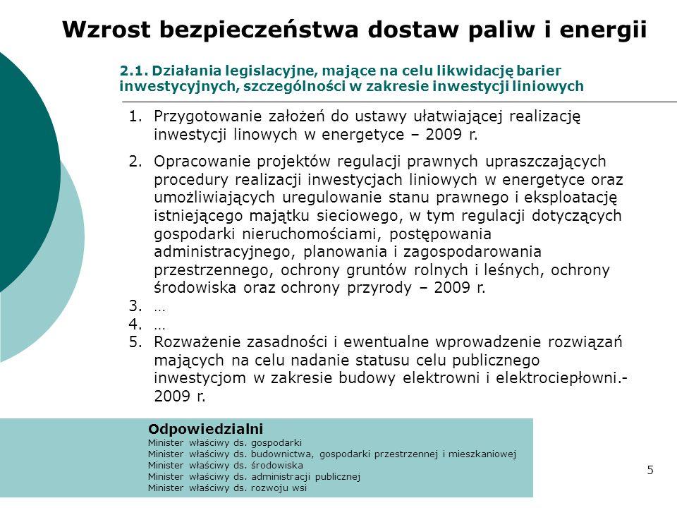 2.1. Działania legislacyjne, mające na celu likwidację barier inwestycyjnych, szczególności w zakresie inwestycji liniowych 1.Przygotowanie założeń do