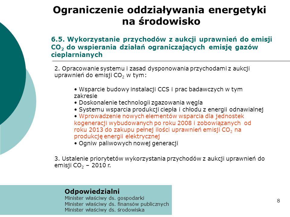 6.5. Wykorzystanie przychodów z aukcji uprawnień do emisji CO 2 do wspierania działań ograniczających emisję gazów cieplarnianych 2. Opracowanie syste