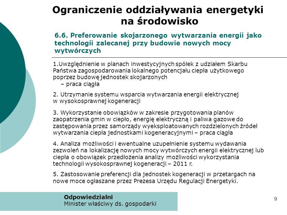 6.6. Preferowanie skojarzonego wytwarzania energii jako technologii zalecanej przy budowie nowych mocy wytwórczych 1.Uwzględnienie w planach inwestycy