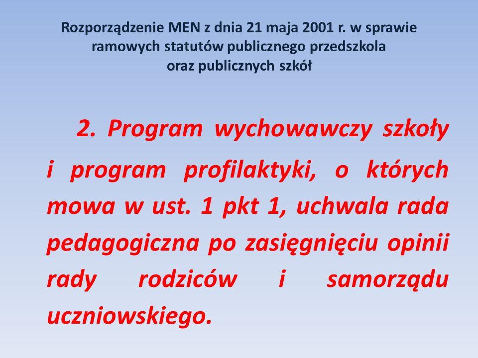 Rozporządzenie MEN z dnia 21 maja 2001 r. w sprawie ramowych statutów publicznego przedszkola oraz publicznych szkół 2. Program wychowawczy szkoły i p