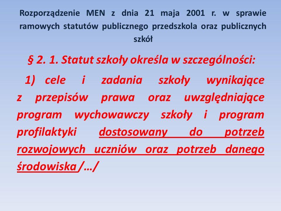 Rozporządzenie MEN z dnia 21 maja 2001 r. w sprawie ramowych statutów publicznego przedszkola oraz publicznych szkół § 2. 1. Statut szkoły określa w s