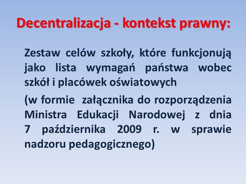 Decentralizacja - kontekst prawny: Zestaw celów szkoły, które funkcjonują jako lista wymagań państwa wobec szkół i placówek oświatowych (w formie załą