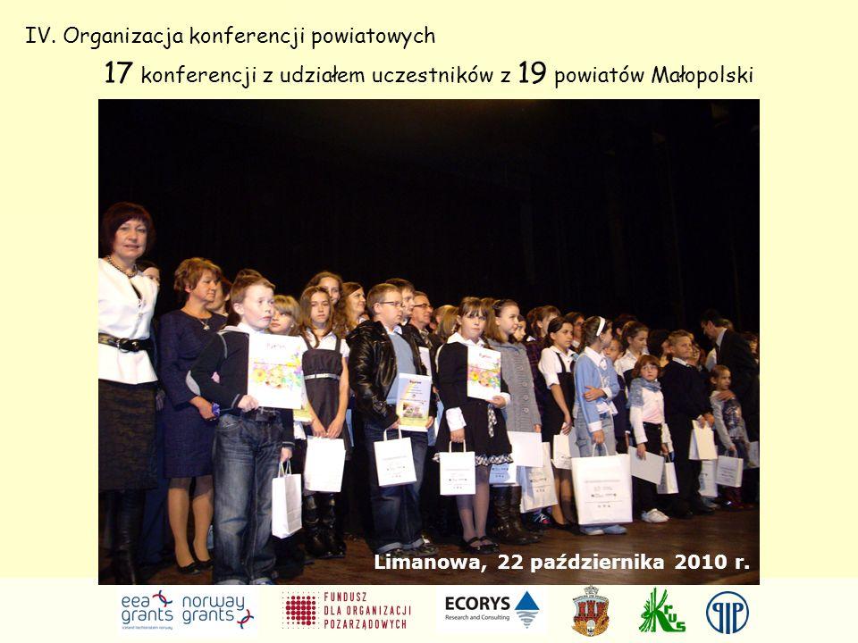 IV. Organizacja konferencji powiatowych 17 konferencji z udziałem uczestników z 19 powiatów Małopolski Limanowa, 22 października 2010 r.
