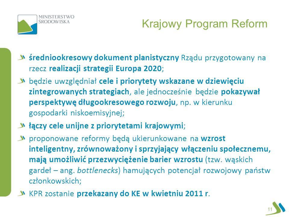 Krajowy Program Reform średniookresowy dokument planistyczny Rządu przygotowany na rzecz realizacji strategii Europa 2020; będzie uwzględniał cele i p