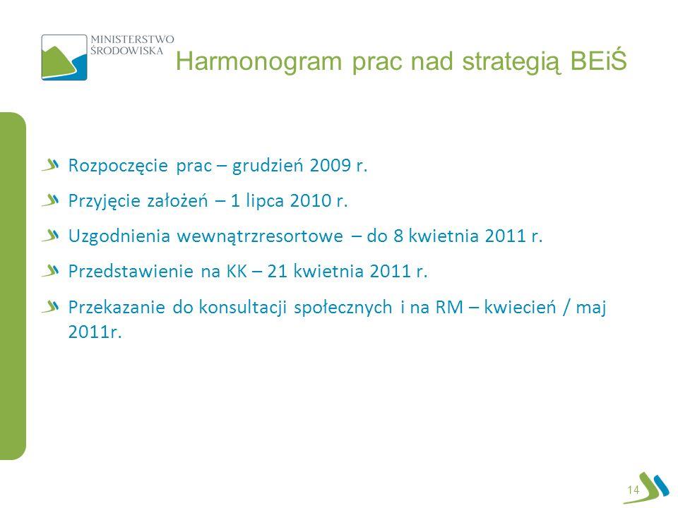 Harmonogram prac nad strategią BEiŚ Rozpoczęcie prac – grudzień 2009 r. Przyjęcie założeń – 1 lipca 2010 r. Uzgodnienia wewnątrzresortowe – do 8 kwiet