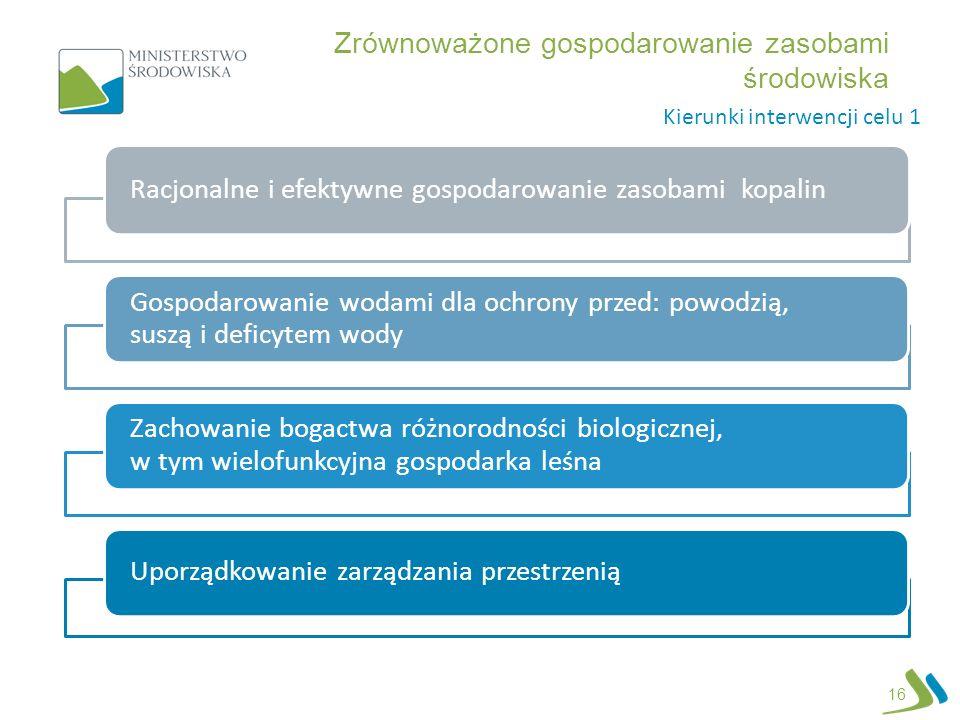 Zrównoważone gospodarowanie zasobami środowiska 16 Racjonalne i efektywne gospodarowanie zasobami kopalin Gospodarowanie wodami dla ochrony przed: pow