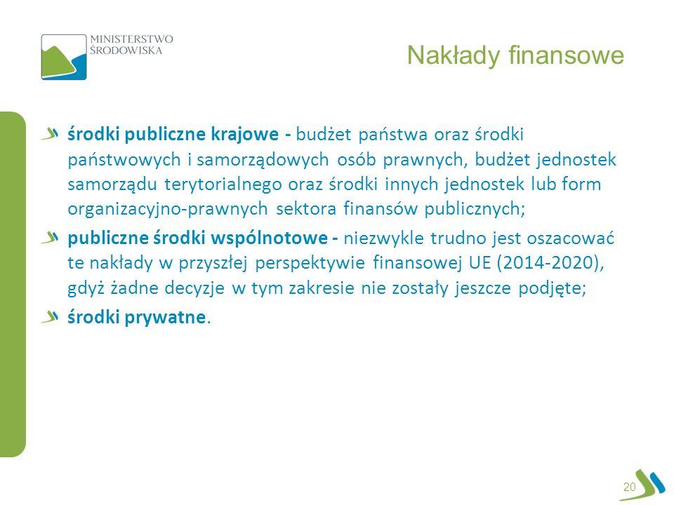 Nakłady finansowe środki publiczne krajowe - budżet państwa oraz środki państwowych i samorządowych osób prawnych, budżet jednostek samorządu terytori