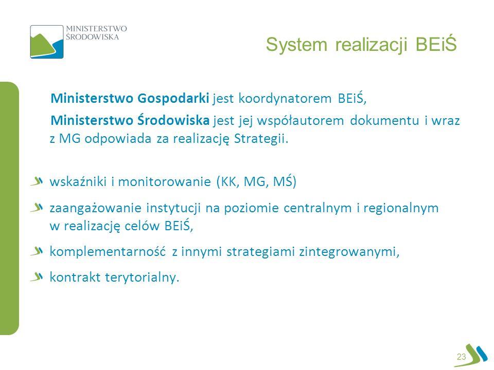 System realizacji BEiŚ Ministerstwo Gospodarki jest koordynatorem BEiŚ, Ministerstwo Środowiska jest jej współautorem dokumentu i wraz z MG odpowiada