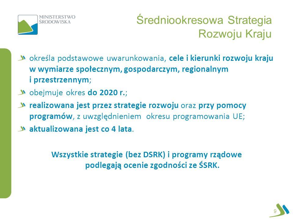 Średniookresowa Strategia Rozwoju Kraju określa podstawowe uwarunkowania, cele i kierunki rozwoju kraju w wymiarze społecznym, gospodarczym, regionaln