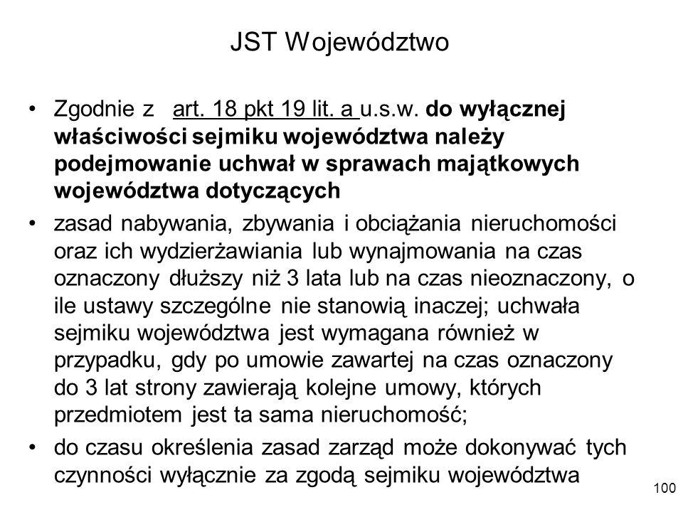 JST Województwo Zgodnie z art. 18 pkt 19 lit. a u.s.w. do wyłącznej właściwości sejmiku województwa należy podejmowanie uchwał w sprawach majątkowych