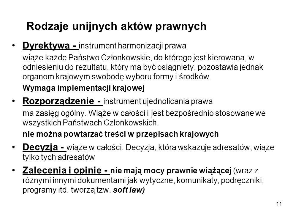 11 Dyrektywa - instrument harmonizacji prawa wiąże każde Państwo Członkowskie, do którego jest kierowana, w odniesieniu do rezultatu, który ma być osi