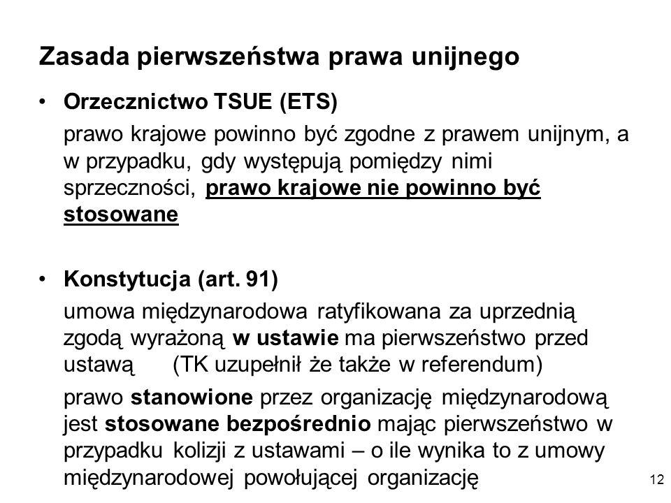 12 Zasada pierwszeństwa prawa unijnego Orzecznictwo TSUE (ETS) prawo krajowe powinno być zgodne z prawem unijnym, a w przypadku, gdy występują pomiędz
