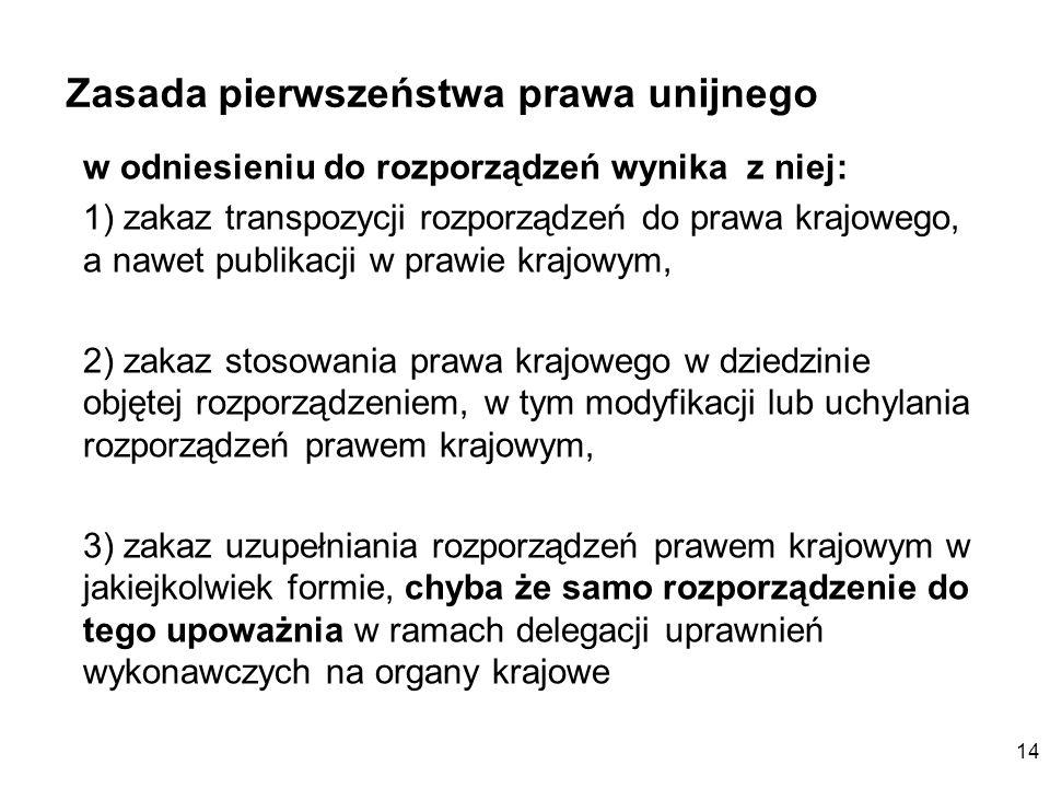 14 Zasada pierwszeństwa prawa unijnego w odniesieniu do rozporządzeń wynika z niej: 1) zakaz transpozycji rozporządzeń do prawa krajowego, a nawet pub