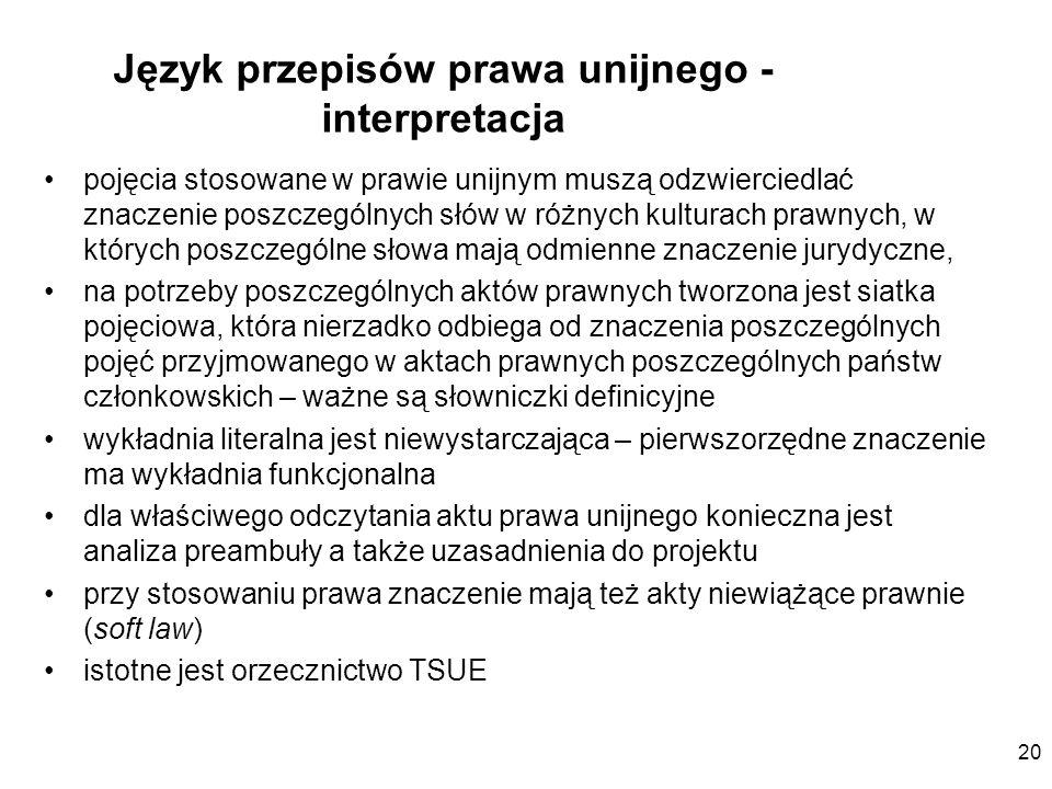20 Język przepisów prawa unijnego - interpretacja pojęcia stosowane w prawie unijnym muszą odzwierciedlać znaczenie poszczególnych słów w różnych kult