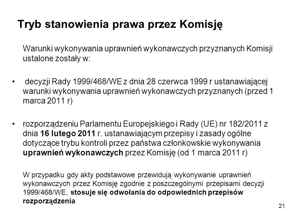 21 Tryb stanowienia prawa przez Komisję Warunki wykonywania uprawnień wykonawczych przyznanych Komisji ustalone zostały w: decyzji Rady 1999/468/WE z