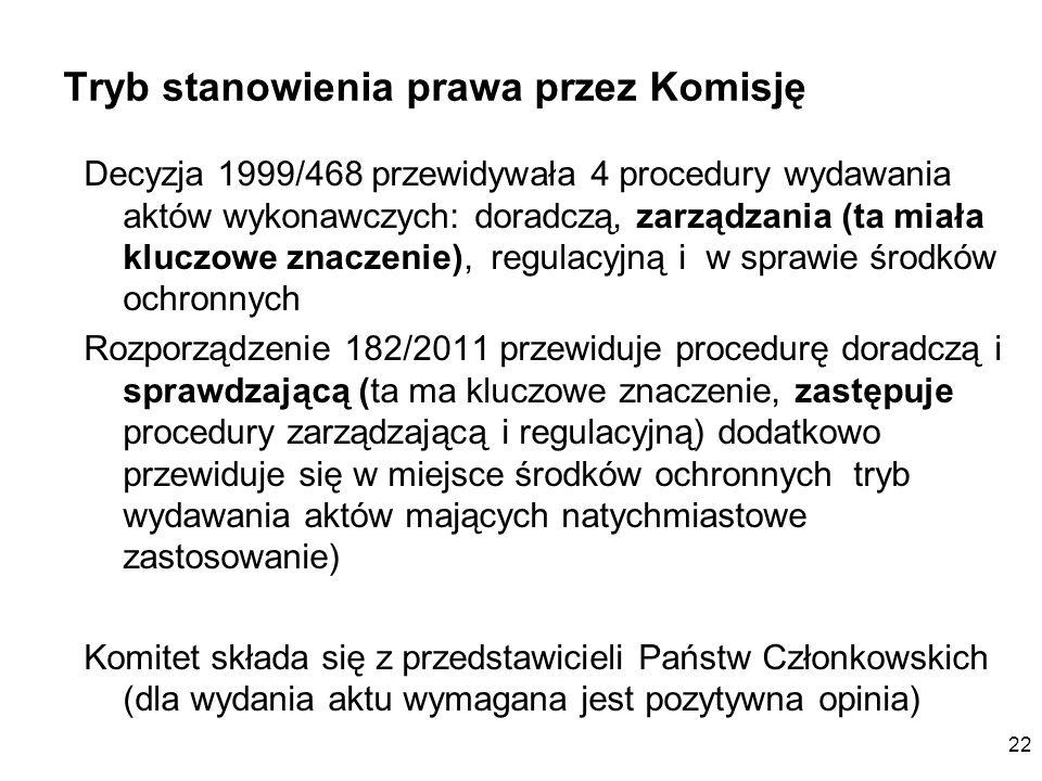 22 Tryb stanowienia prawa przez Komisję Decyzja 1999/468 przewidywała 4 procedury wydawania aktów wykonawczych: doradczą, zarządzania (ta miała kluczo