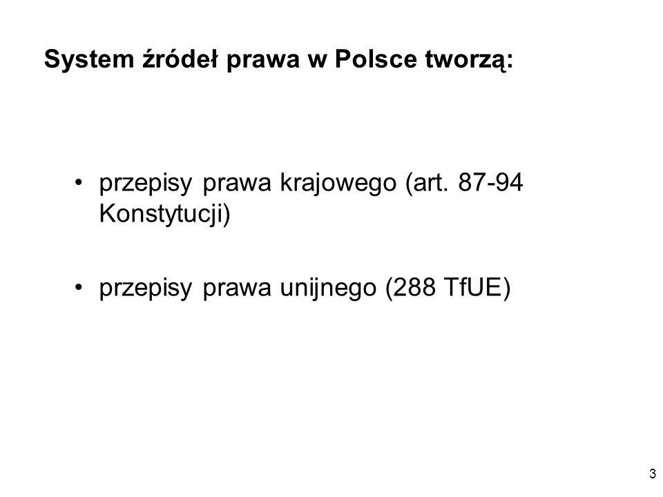 3 System źródeł prawa w Polsce tworzą: przepisy prawa krajowego (art. 87-94 Konstytucji) przepisy prawa unijnego (288 TfUE)