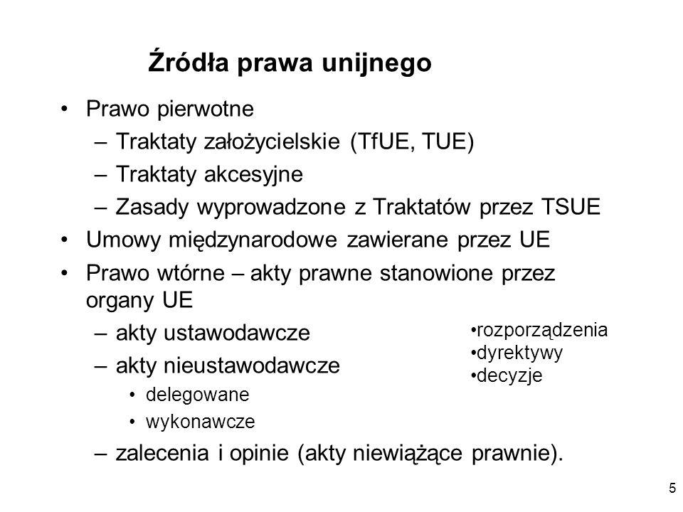 5 Źródła prawa unijnego Prawo pierwotne –Traktaty założycielskie (TfUE, TUE) –Traktaty akcesyjne –Zasady wyprowadzone z Traktatów przez TSUE Umowy mię