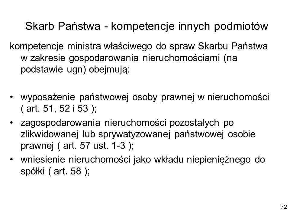 Skarb Państwa - kompetencje innych podmiotów kompetencje ministra właściwego do spraw Skarbu Państwa w zakresie gospodarowania nieruchomościami (na po