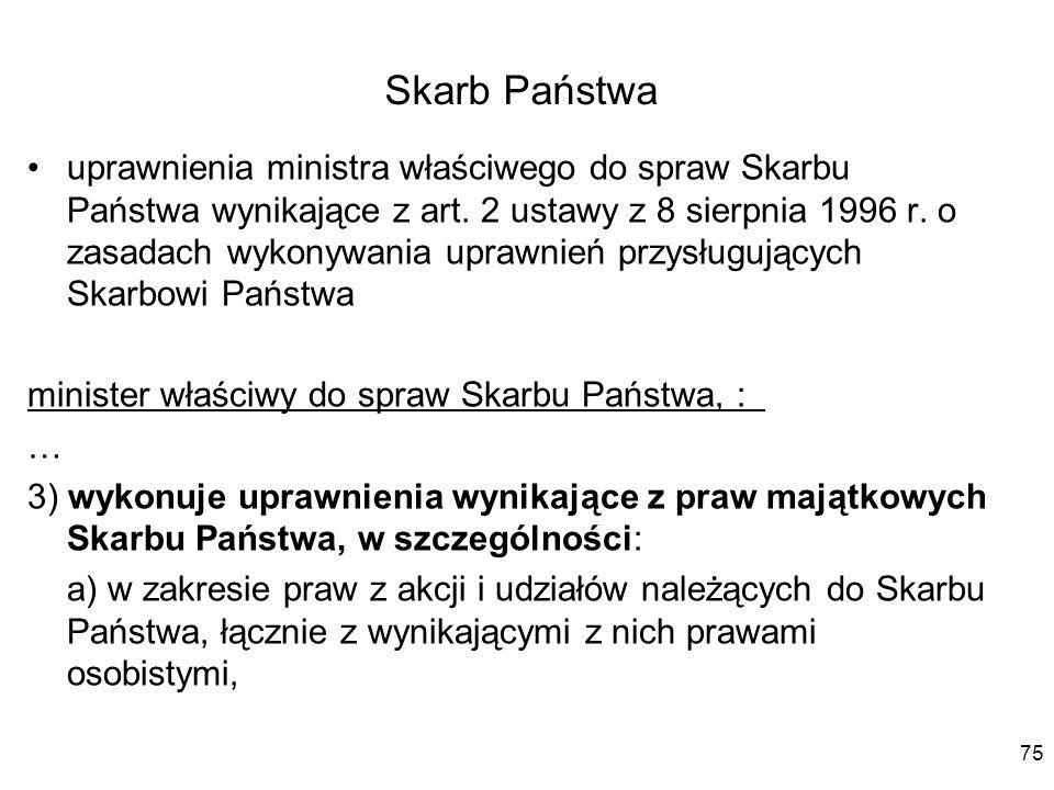 Skarb Państwa uprawnienia ministra właściwego do spraw Skarbu Państwa wynikające z art. 2 ustawy z 8 sierpnia 1996 r. o zasadach wykonywania uprawnień