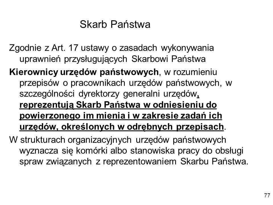 Skarb Państwa Zgodnie z Art. 17 ustawy o zasadach wykonywania uprawnień przysługujących Skarbowi Państwa Kierownicy urzędów państwowych, w rozumieniu