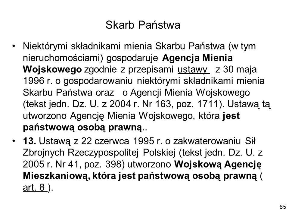 Skarb Państwa Niektórymi składnikami mienia Skarbu Państwa (w tym nieruchomościami) gospodaruje Agencja Mienia Wojskowego zgodnie z przepisami ustawy