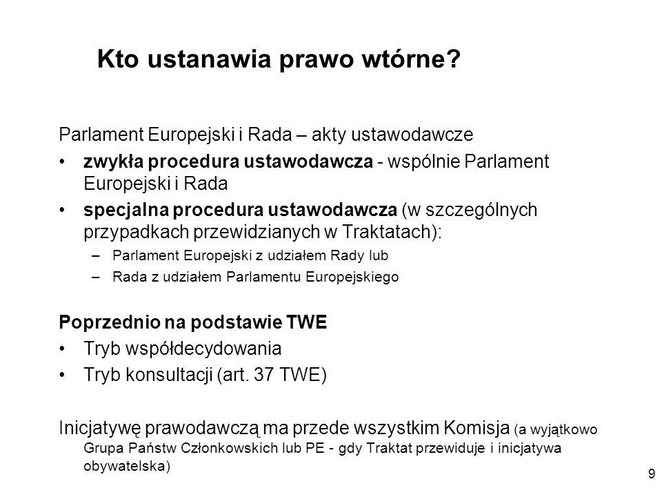 9 Kto ustanawia prawo wtórne? Parlament Europejski i Rada – akty ustawodawcze zwykła procedura ustawodawcza - wspólnie Parlament Europejski i Rada spe