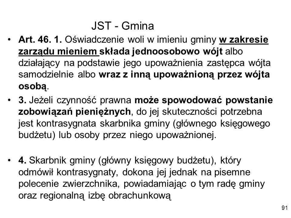 JST - Gmina Art. 46. 1. Oświadczenie woli w imieniu gminy w zakresie zarządu mieniem składa jednoosobowo wójt albo działający na podstawie jego upoważ