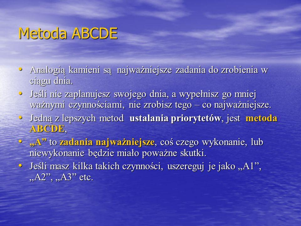 Metoda ABCDE Analogią kamieni są najważniejsze zadania do zrobienia w ciągu dnia. Analogią kamieni są najważniejsze zadania do zrobienia w ciągu dnia.