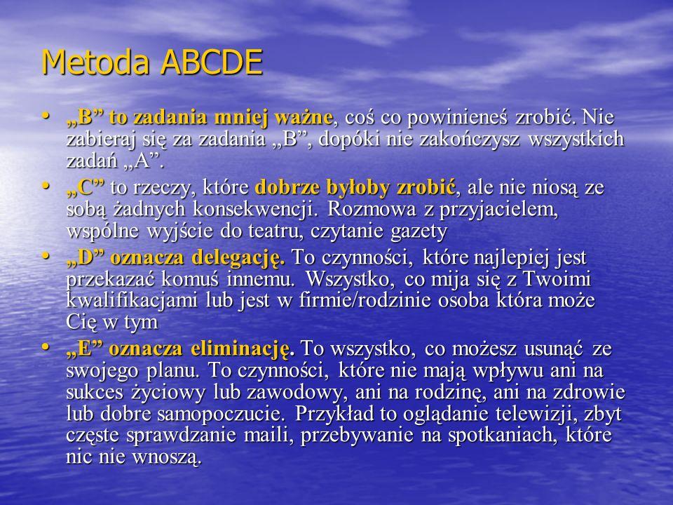 Metoda ABCDE B to zadania mniej ważne, coś co powinieneś zrobić. Nie zabieraj się za zadania B, dopóki nie zakończysz wszystkich zadań A. B to zadania