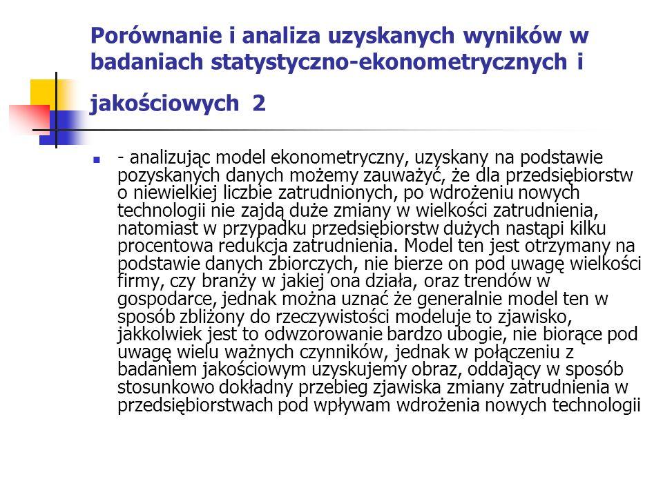 Porównanie i analiza uzyskanych wyników w badaniach statystyczno-ekonometrycznych i jakościowych 2 - analizując model ekonometryczny, uzyskany na pods