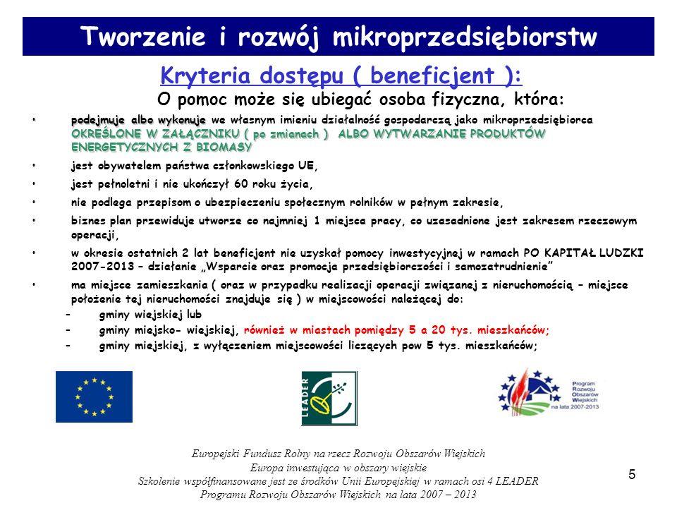 36 WYPEŁNIANIE WNIOSKU APLIKACYJNEGO – punkty krytyczne : - planowany termin zakończenia etapu/operacji ( punkt 21 ) ; - finansowanie operacji ( punkty 22-30 ) – określenie kosztów kwalifikowanych, w tym szczególne zasady dotyczące zakupu środków transportu, określenie wnioskowanej kwoty pomocy; - zestawienie rzeczowo – finansowe; Europejski Fundusz Rolny na rzecz Rozwoju Obszarów Wiejskich Europa inwestująca w obszary wiejskie Szkolenie współfinansowane jest ze środków Unii Europejskiej w ramach osi 4 LEADER Programu Rozwoju Obszarów Wiejskich na lata 2007 – 2013