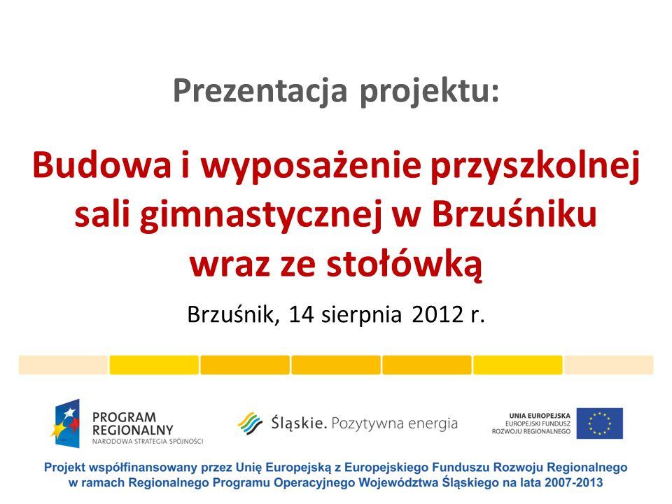 Opis projektu Projektu Budowa i wyposażenie przyszkolnej sali gimnastycznej w Brzuśniku wraz ze stołówką został dofinansowany ze środków Unii Europejskiej z Europejskiego Funduszu Rozwoju Regionalnego w ramach Regionalnego Programu Operacyjnego Województwa Śląskiego na lata 2007-2013 działanie 8.2 Infrastruktura placówek oświaty.