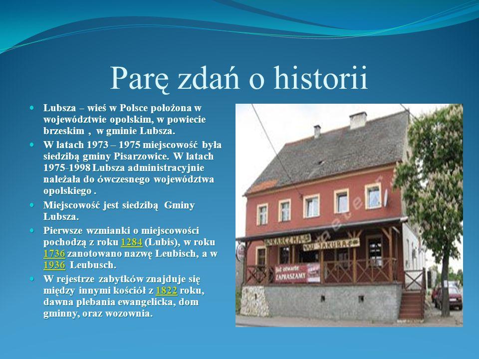 Parę zdań o historii Lubsza – wieś w Polsce położona w województwie opolskim, w powiecie brzeskim, w gminie Lubsza. Lubsza – wieś w Polsce położona w