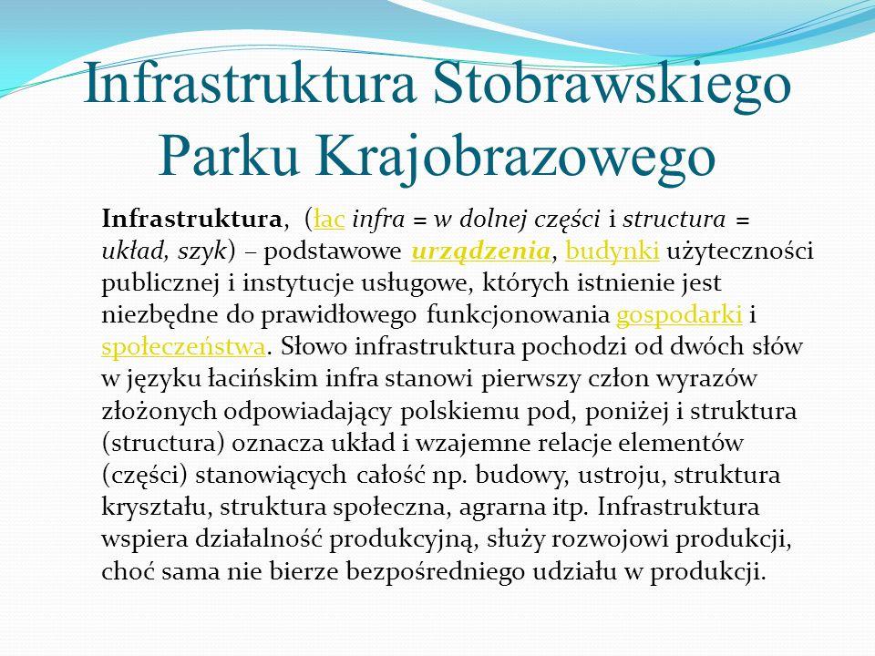 Infrastruktura Stobrawskiego Parku Krajobrazowego Infrastruktura, (łac infra = w dolnej części i structura = układ, szyk) – podstawowe urządzenia, bud