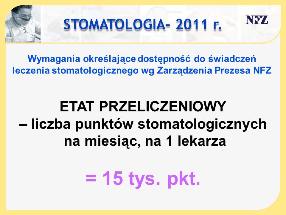 STOMATOLOGIA– 2011 r. Wymagania określające dostępność do świadczeń leczenia stomatologicznego wg Zarządzenia Prezesa NFZ ETAT PRZELICZENIOWY – liczba