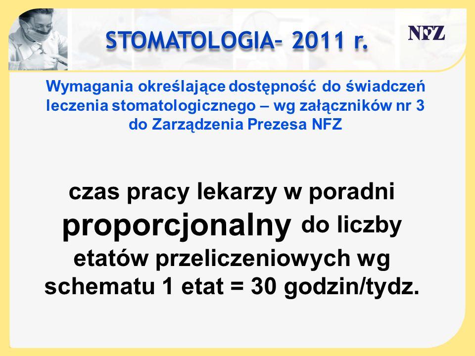 STOMATOLOGIA– 2011 r. Wymagania określające dostępność do świadczeń leczenia stomatologicznego – wg załączników nr 3 do Zarządzenia Prezesa NFZ czas p